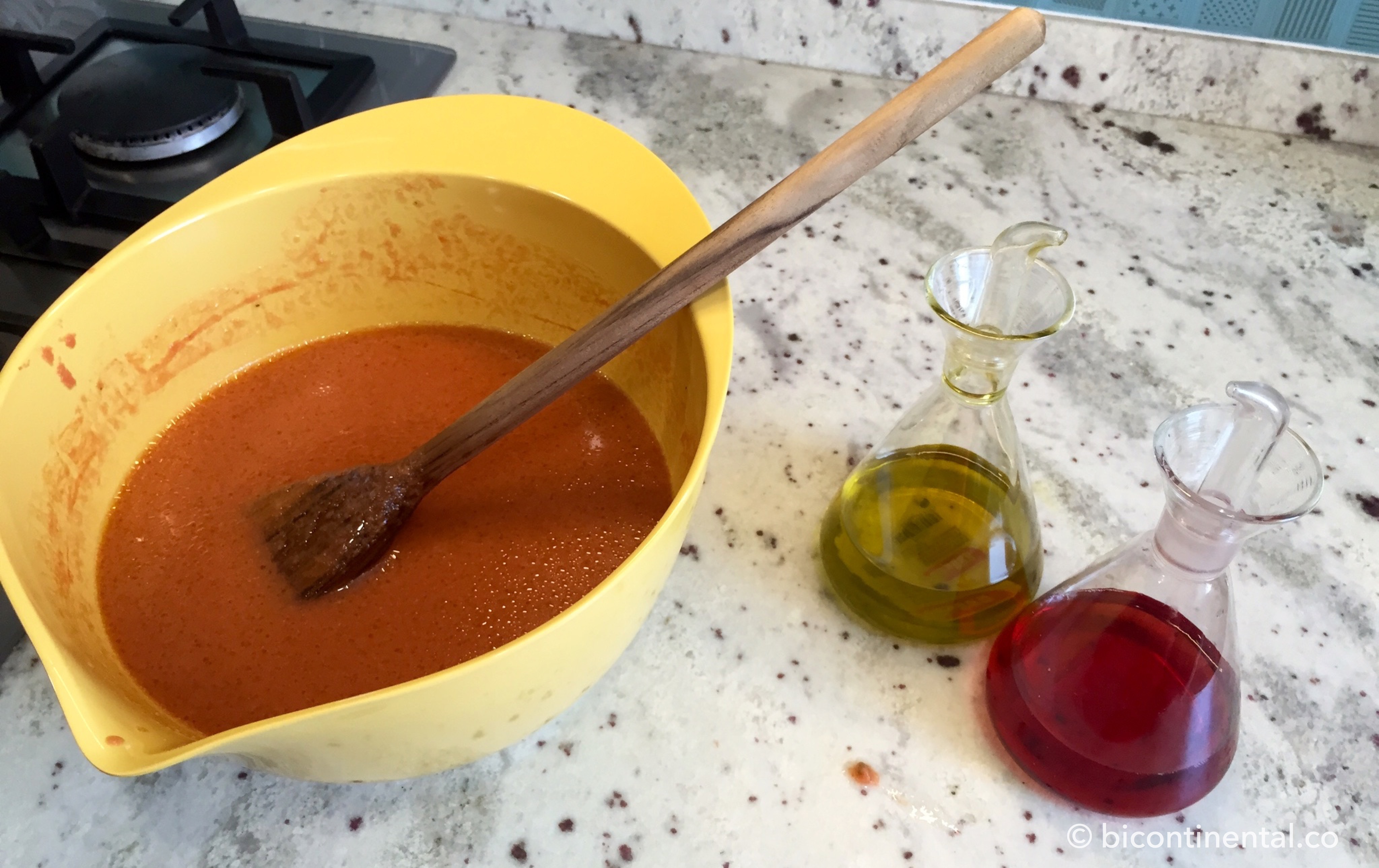 adding oil to gazpacho
